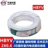 環威電線電纜,2芯  線HBYV2*1/0.4帶阻燃環保  線 廠家直銷