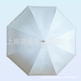 女式直杆晴雨伞、防紫外线高密度黑胶布面料,蕾丝边印花