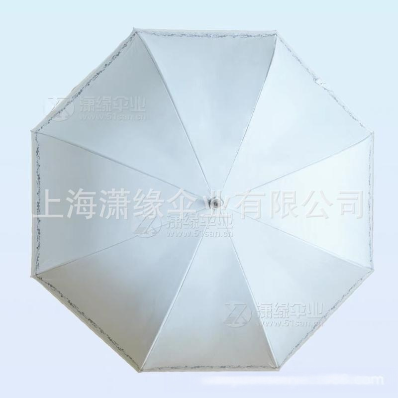 高端女式直杆晴雨伞、防紫外线高密度黑胶布面料,蕾丝边印花