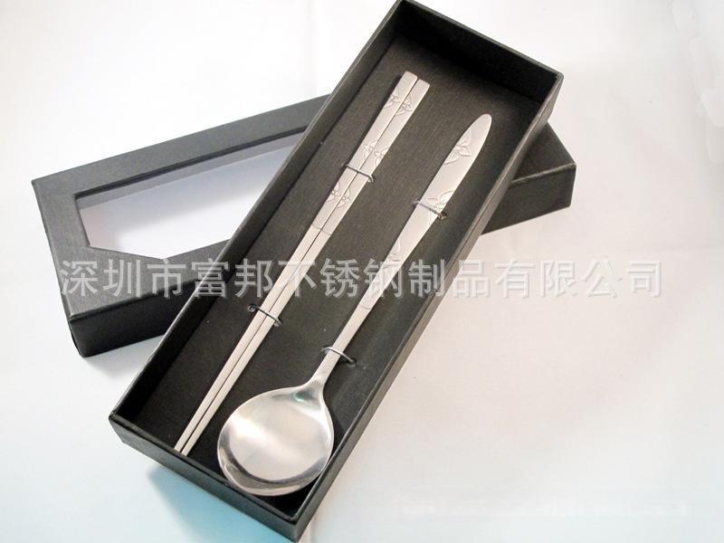 韩式不锈钢勺子 筷子 实心扁筷子