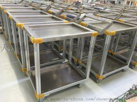 天津手推车厂家 不锈钢带围挡手推车 不锈钢三层推车