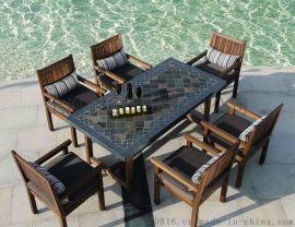别墅户外家具 天然锈板岩石面户外家具桌椅