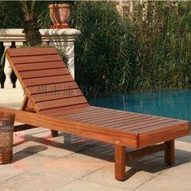 厂家直销防腐木躺椅会所实木沙滩椅木折叠躺椅休闲沙滩椅