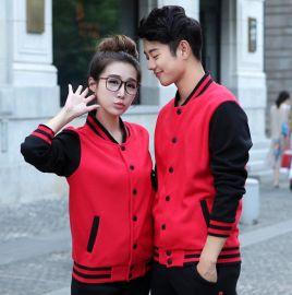 秋冬加絨運動服兩件套男女休閒套裝開衫情侶裝青少年立領棒球服