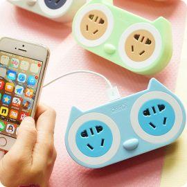 无线创意插头 电源转换器 USB接线板插排 卡通多用拖线板