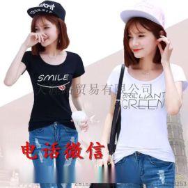 夏季棉质便宜短袖**地摊跑量货源批发 杂款女式印花短袖t恤衫