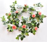 仿真玫瑰花藤條藤蔓塑料花 植物假花裝飾壁掛
