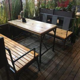胡桃裏音樂餐廳繁花酒吧鐵藝戶外沙發卡座 咖啡廳清吧軟包木座板卡座 可定制尺寸