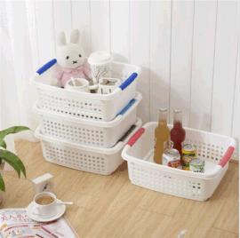 日式家居桌面杂物收纳盒 大号家居可叠加镂空塑料整理储物框