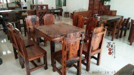 实木餐桌长方形老船木餐桌椅组合餐厅吃饭桌两用桌