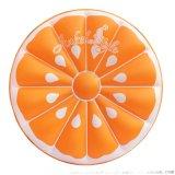 爆款充气PVC橙子浮排大型水上水果浮床