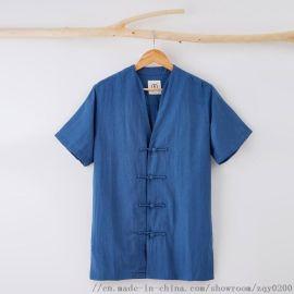 宸贤中国风亚麻短袖衬衫男士短袖尖领休闲舒适百搭上衣