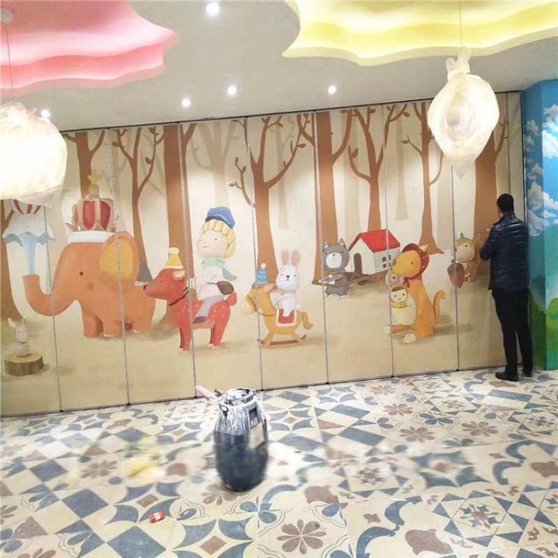 餐廳包間貼畫活動隔斷牆 幼兒園培訓室摺疊移門屏風