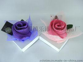 厂家直供订制超细纤维热转印花玫瑰花造型蛋糕毛巾