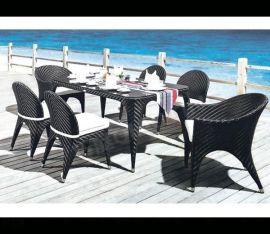 广州巧庭 藤椅 五件套 阳台休闲铁艺桌椅组合 户外家具行业**