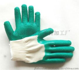 半浸胶线手套突出点是手背胶覆盖面大作用手套结实耐用