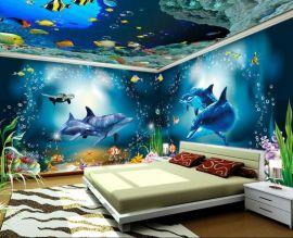 主题酒店设计壁画 餐厅装饰海洋墙纸 主题艺术壁纸