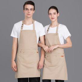 批发韩版时尚黑色长款挂脖围腰黑色促销广告围裙工作服定制logo