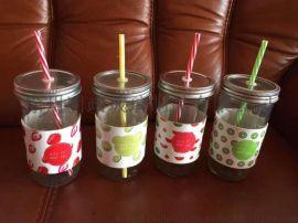 柠檬果汁玻璃杯,插吸管玻璃杯,饮料杯奶茶杯