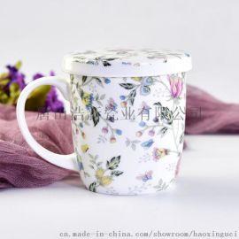 商务礼品百货马克杯定制 骨质瓷茶水杯陶瓷盖杯