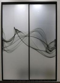 誉华召创艺术夹画玻璃,窄边框,极简推拉门