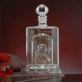 透明玻璃酒瓶,双层直管玻璃酒瓶,内置小熊造型空酒瓶