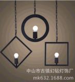 源頭廠家供應北歐loft工業風扁管幾何吊燈奶茶店西餐廳吧檯燈具