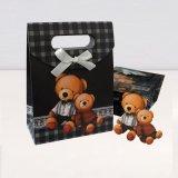廣州包裝廠翻蓋禮品袋魔術貼蝴蝶結紙袋糖果禮物包裝創意小熊父子