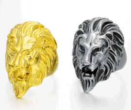 欧美霸气狮子头铸造钛钢戒指 个性复古不锈钢戒指男士饰品QJ038