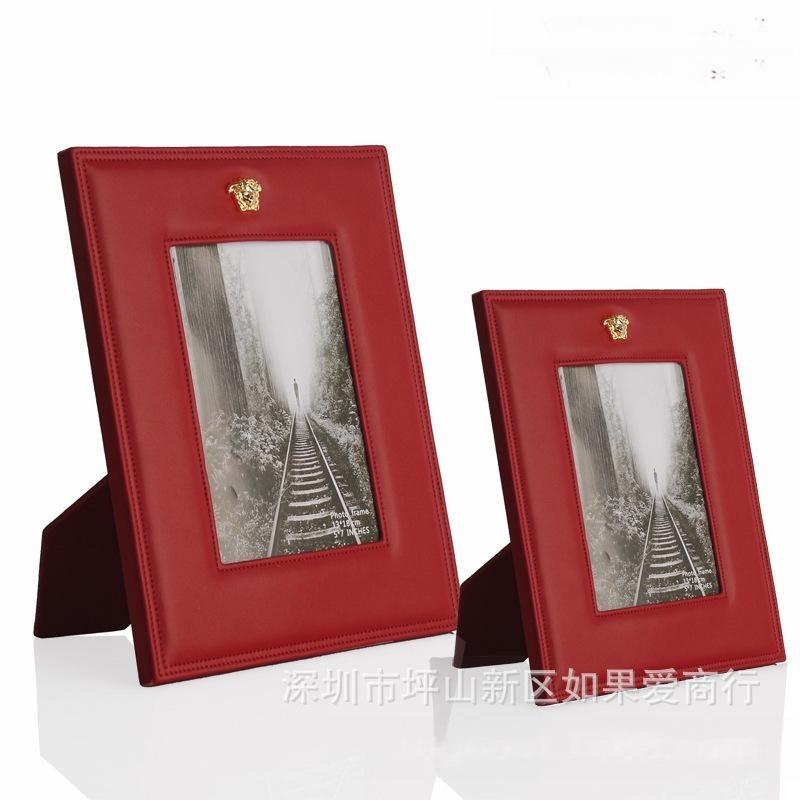 美式皮质相框粉红色创意现代简约画框6寸7寸儿童影楼全家福相框