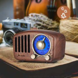 复古实木蓝牙插卡音箱胡桃木收音机