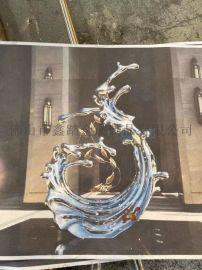 浙江园林镜面不锈钢海浪雕塑 景观浪花雕塑气势磅礴