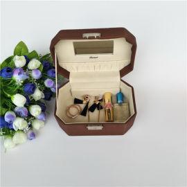 便携式PU皮纯色手提化妆盒饰品收纳包