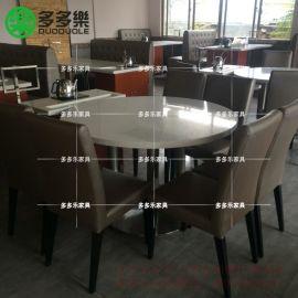 定制港式茶餐厅餐桌椅 大理石餐桌 功夫茶餐桌