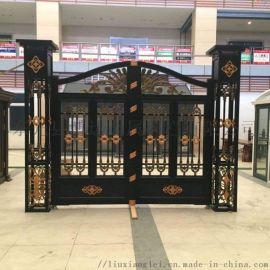 北京順義區金屬別墅大門鋁藝護欄設計