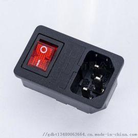 供应品字三合一电源插座BT-14-F3 带开关保险