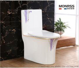 坐便器,蒙诺雷斯彩金马桶6069A紫兰花,座便器