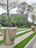 不鏽鋼長方形花箱 不鏽鋼圓形花盆金屬組合花器