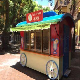 户外时尚商业街小吃售卖亭
