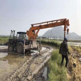 5吨拖拉机吊车 电线杆吊装打孔一体机
