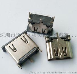 HDMI 19P立式母座180度立贴高度13.0mm三脚直立式插板