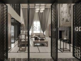 不鏽鋼屏風隔斷鏤空雕花現代金屬中式客廳玄關摺疊