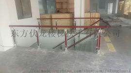 海口玻璃楼梯扶手安装-不锈钢立柱+玻璃护栏+实木扶手