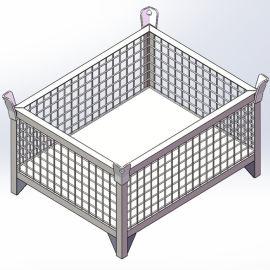 角钢仓储笼 固定式可堆叠金属网箱 围栏托盘箱