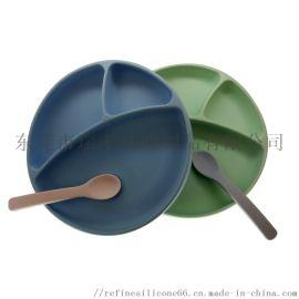 硅胶  餐盘 婴幼儿强力吸盘分格硅胶餐盘