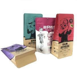 牛皮纸自立袋八边封加厚袋坚果干果食品包装袋定做