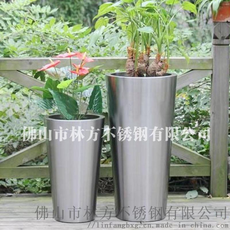 惠州海边别墅摆设不锈钢花盆 时尚彩色不锈钢花盆