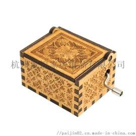 仿古做旧木质手摇音乐盒