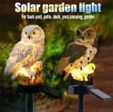 欧式树脂太阳能猫头鹰地插灯工艺品摆件