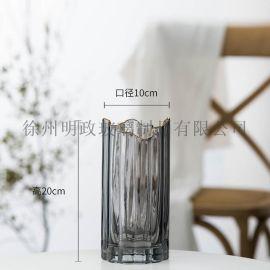 奢华竖纹花瓶描  瓶创意花瓶客厅花瓶客厅摆件